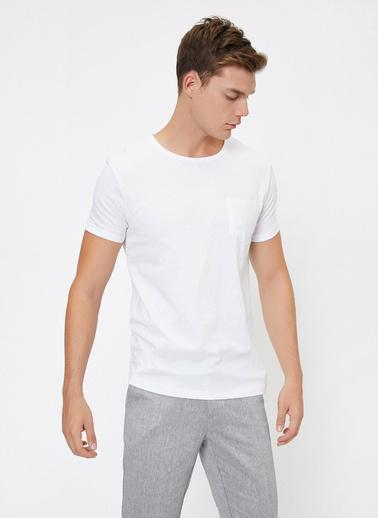 Koton Bisiklet Yaka Cep Detayli Kollari Katlamali Slim Fit T-Shirt Beyaz